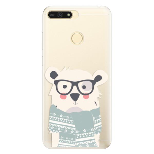 Silikonové pouzdro iSaprio - Bear with Scarf - Huawei Honor 7A