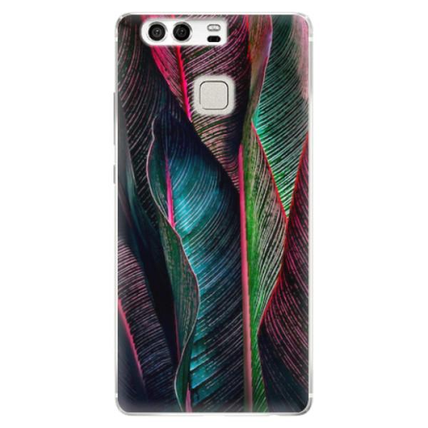 Silikonové pouzdro iSaprio - Black Leaves - Huawei P9