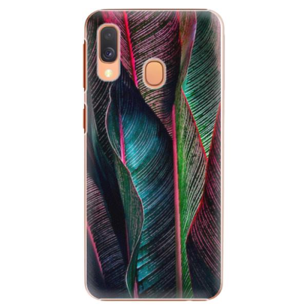 Plastové pouzdro iSaprio - Black Leaves - Samsung Galaxy A40