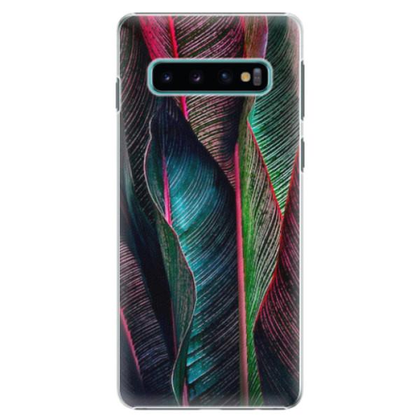 Plastové pouzdro iSaprio - Black Leaves - Samsung Galaxy S10
