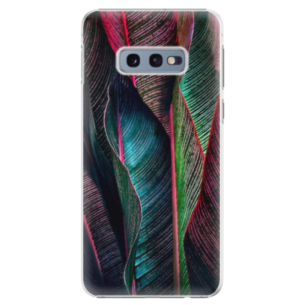 Plastové pouzdro iSaprio - Black Leaves - Samsung Galaxy S10e