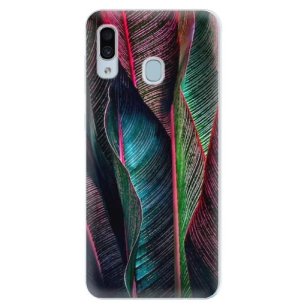 Silikonové pouzdro iSaprio - Black Leaves - Samsung Galaxy A30