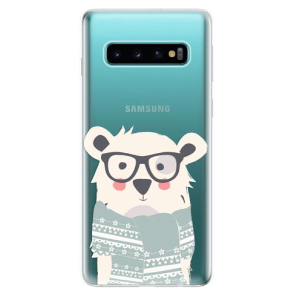 Odolné silikonové pouzdro iSaprio - Bear with Scarf - Samsung Galaxy S10