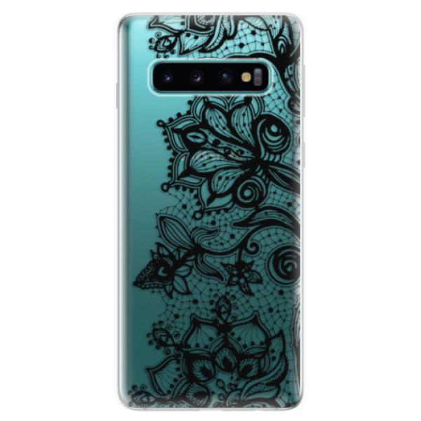 Odolné silikonové pouzdro iSaprio - Black Lace - Samsung Galaxy S10