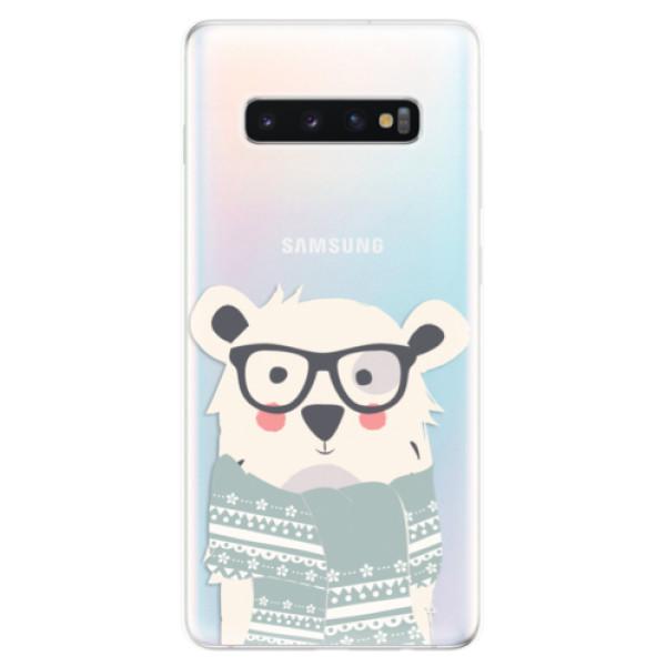 Odolné silikonové pouzdro iSaprio - Bear with Scarf - Samsung Galaxy S10+