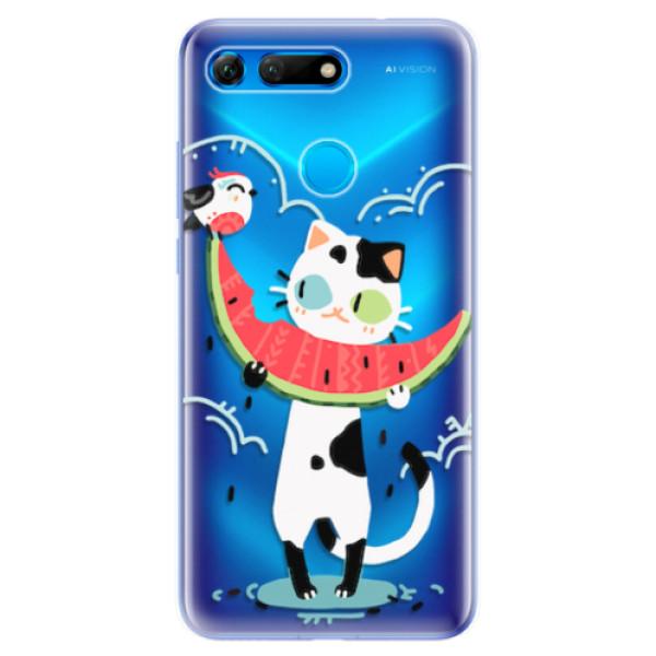 Odolné silikonové pouzdro iSaprio - Cat with melon - Huawei Honor View 20