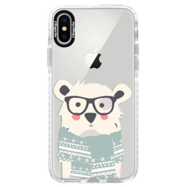 Silikonové pouzdro Bumper iSaprio - Bear with Scarf - iPhone X