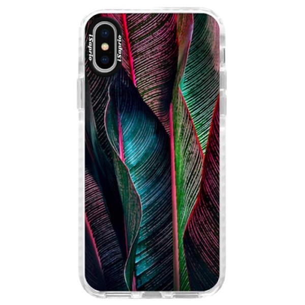 Silikonové pouzdro Bumper iSaprio - Black Leaves - iPhone X