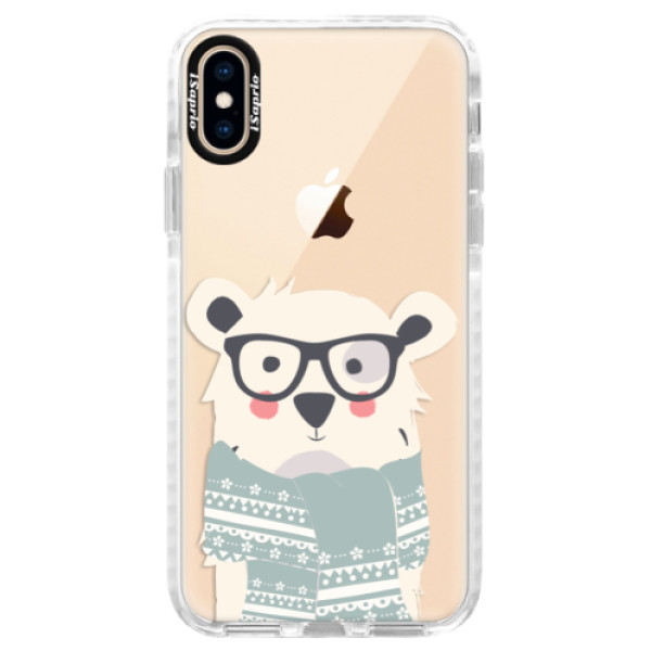 Silikonové pouzdro Bumper iSaprio - Bear with Scarf - iPhone XS