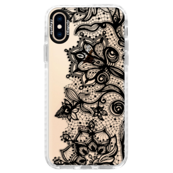 Silikonové pouzdro Bumper iSaprio - Black Lace - iPhone XS