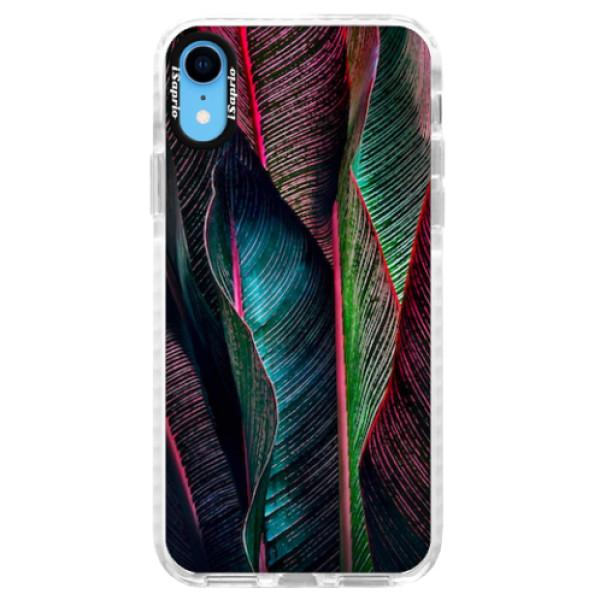 Silikonové pouzdro Bumper iSaprio - Black Leaves - iPhone XR