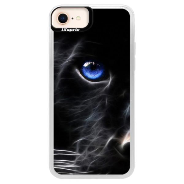 Neonové pouzdro Pink iSaprio - Black Puma - iPhone 8