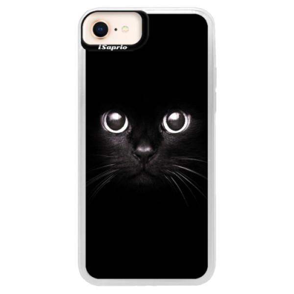Neonové pouzdro Pink iSaprio - Black Cat - iPhone 8