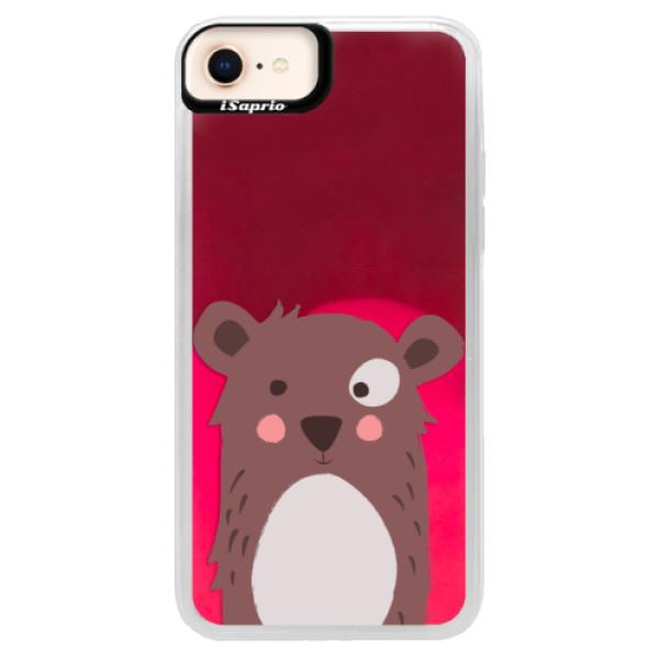 Neonové pouzdro Pink iSaprio - Brown Bear - iPhone 8