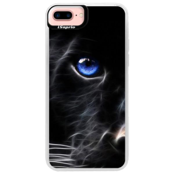 Neonové pouzdro Pink iSaprio - Black Puma - iPhone 7 Plus