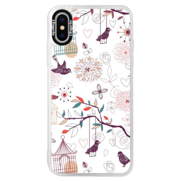 Neonové pouzdro Pink iSaprio - Birds - iPhone X