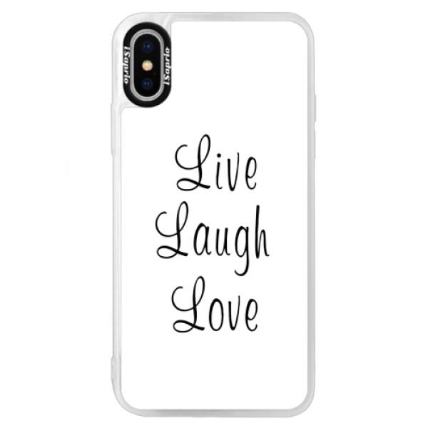 Neonové pouzdro Blue iSaprio - Live Laugh Love - iPhone X