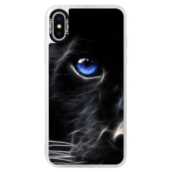 Neonové pouzdro Pink iSaprio - Black Puma - iPhone XS