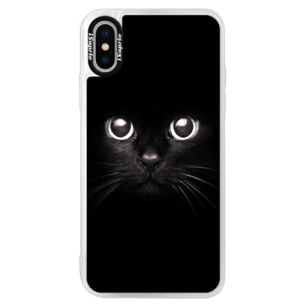 Neonové pouzdro Pink iSaprio - Black Cat - iPhone XS