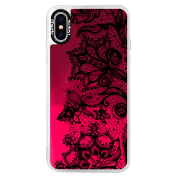 Neonové pouzdro Pink iSaprio - Black Lace - iPhone XS