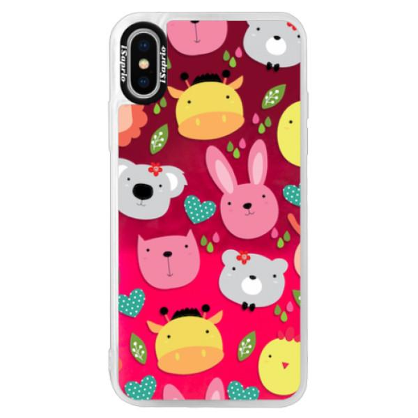 Neonové pouzdro Pink iSaprio - Animals 01 - iPhone XS