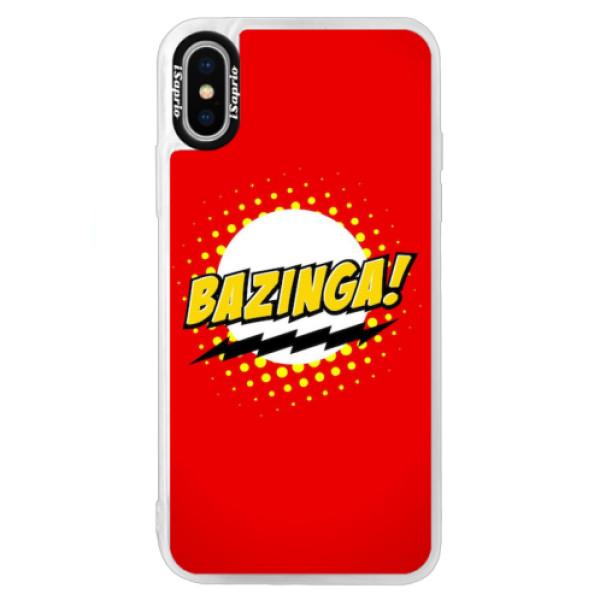 Neonové pouzdro Blue iSaprio - Bazinga 01 - iPhone XS
