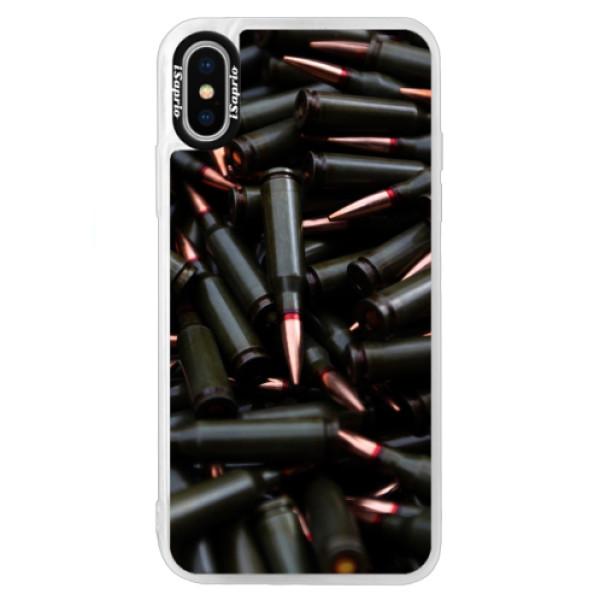 Neonové pouzdro Blue iSaprio - Black Bullet - iPhone XS