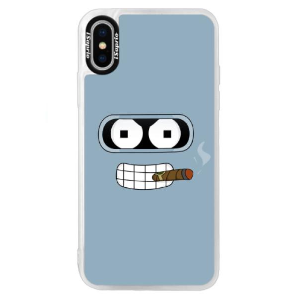 Neonové pouzdro Blue iSaprio - Bender - iPhone XS