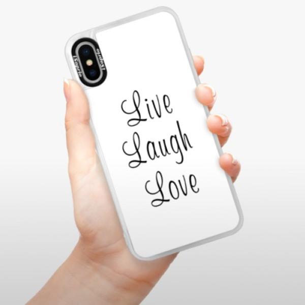 Neonové pouzdro Blue iSaprio - Live Laugh Love - iPhone XS