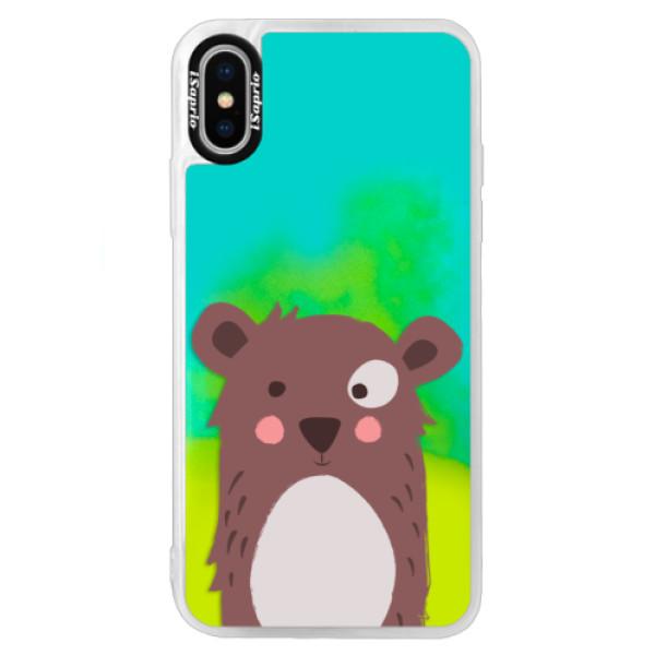 Neonové pouzdro Blue iSaprio - Brown Bear - iPhone XS