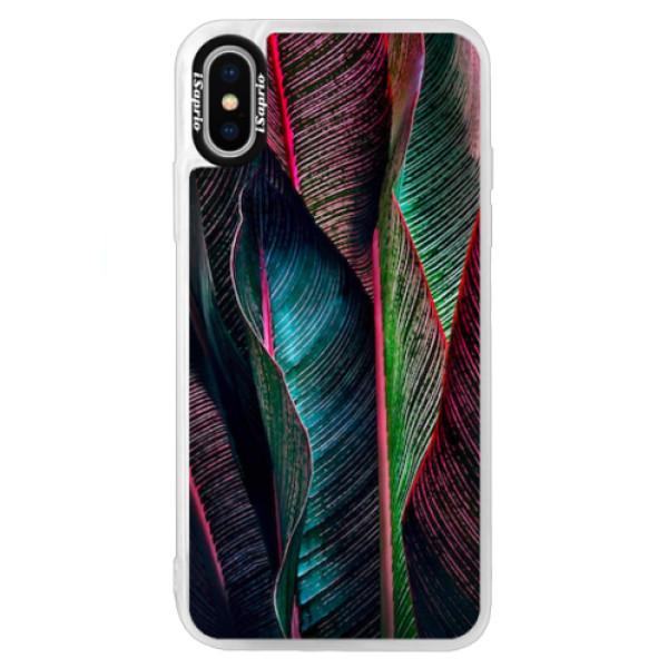 Neonové pouzdro Blue iSaprio - Black Leaves - iPhone XS