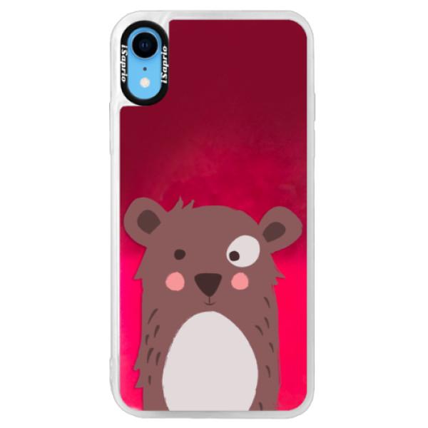 Neonové pouzdro Pink iSaprio - Brown Bear - iPhone XR