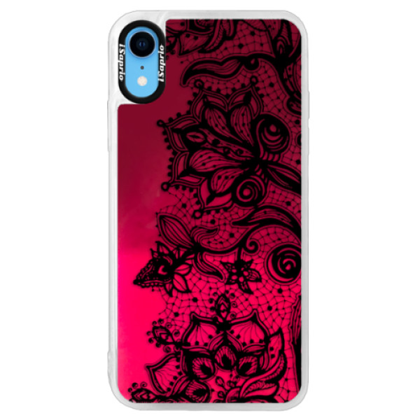 Neonové pouzdro Pink iSaprio - Black Lace - iPhone XR