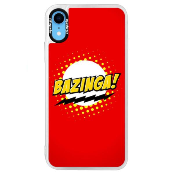 Neonové pouzdro Blue iSaprio - Bazinga 01 - iPhone XR