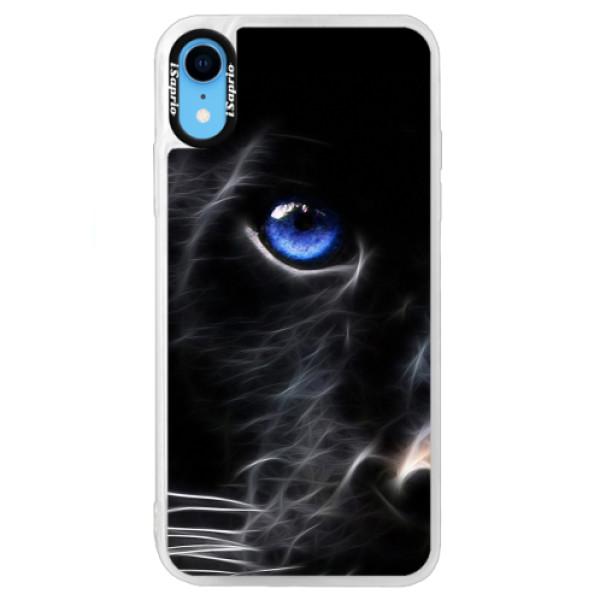 Neonové pouzdro Blue iSaprio - Black Puma - iPhone XR