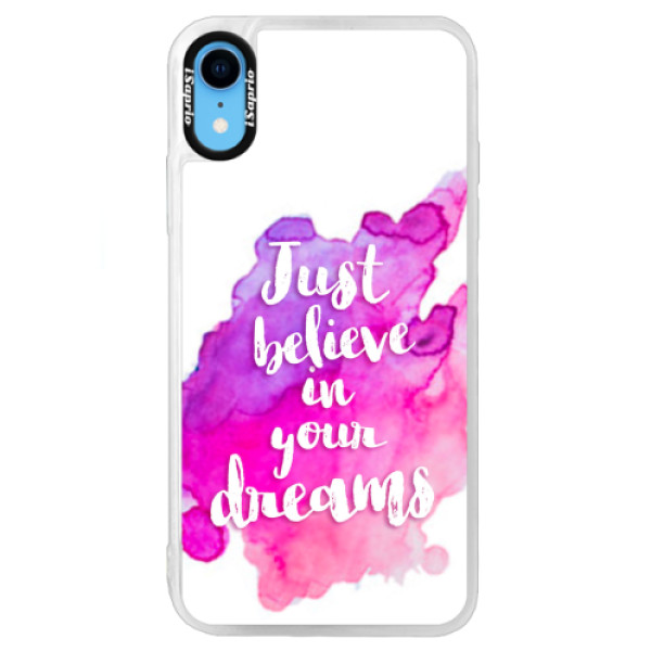 Neonové pouzdro Blue iSaprio - Believe - iPhone XR