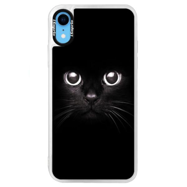 Neonové pouzdro Blue iSaprio - Black Cat - iPhone XR