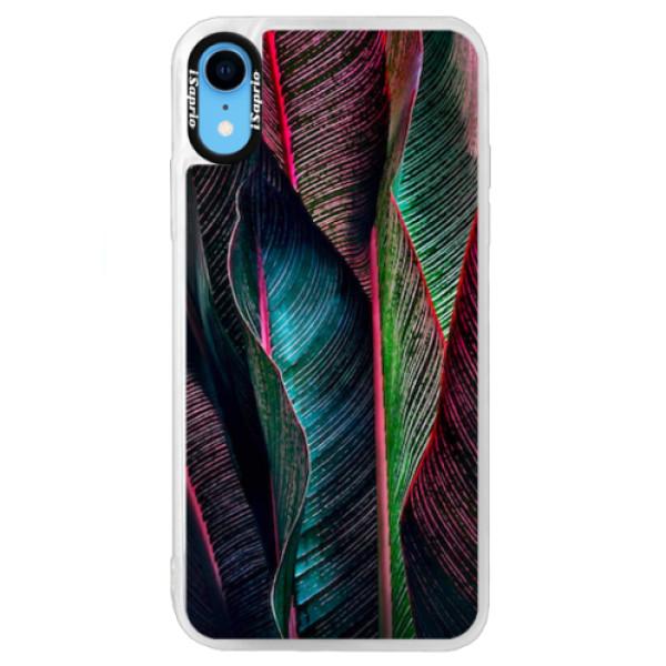 Neonové pouzdro Blue iSaprio - Black Leaves - iPhone XR