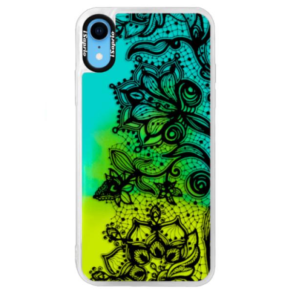 Neonové pouzdro Blue iSaprio - Black Lace - iPhone XR