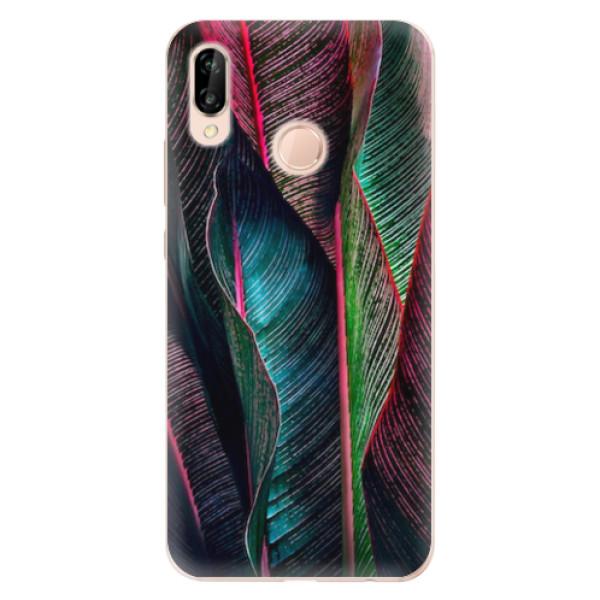 Odolné silikonové pouzdro iSaprio - Black Leaves - Huawei P20 Lite