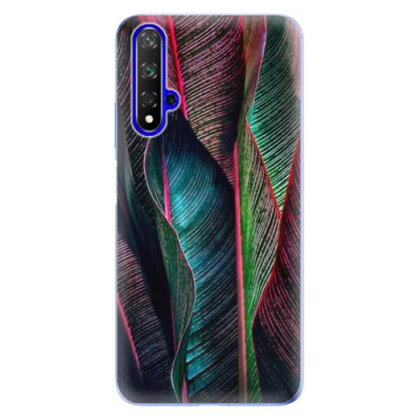 Odolné silikonové pouzdro iSaprio - Black Leaves - Huawei Honor 20