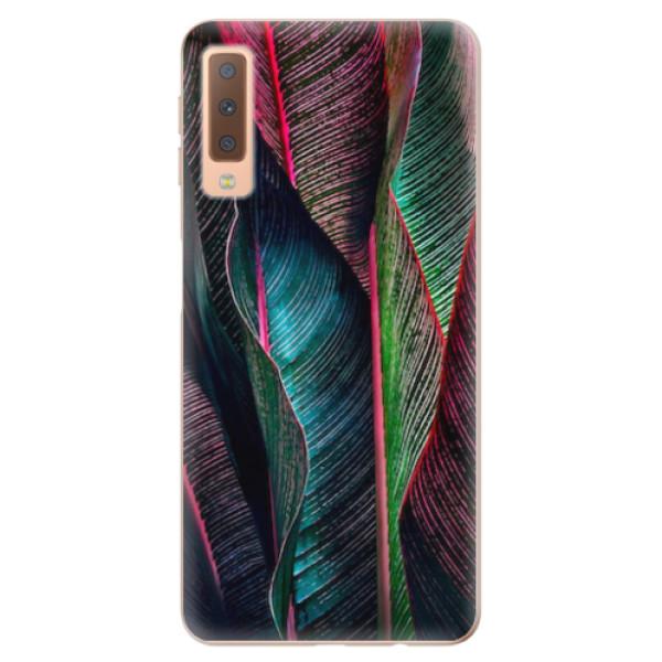Odolné silikonové pouzdro iSaprio - Black Leaves - Samsung Galaxy A7 (2018)