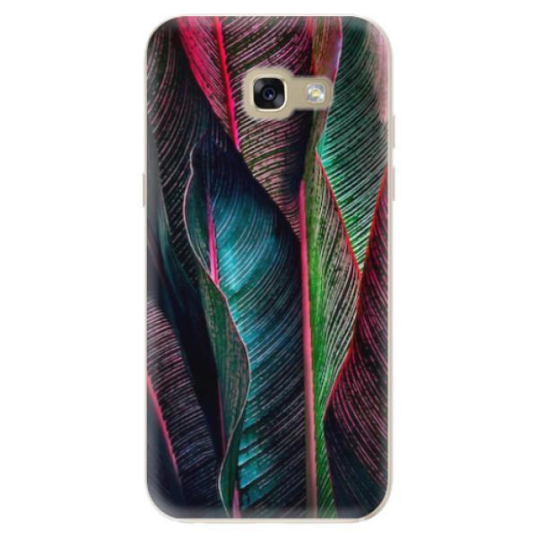 Odolné silikonové pouzdro iSaprio - Black Leaves - Samsung Galaxy A5 2017
