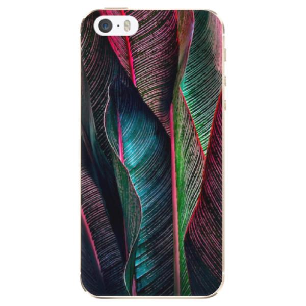 Odolné silikonové pouzdro iSaprio - Black Leaves - iPhone 5/5S/SE
