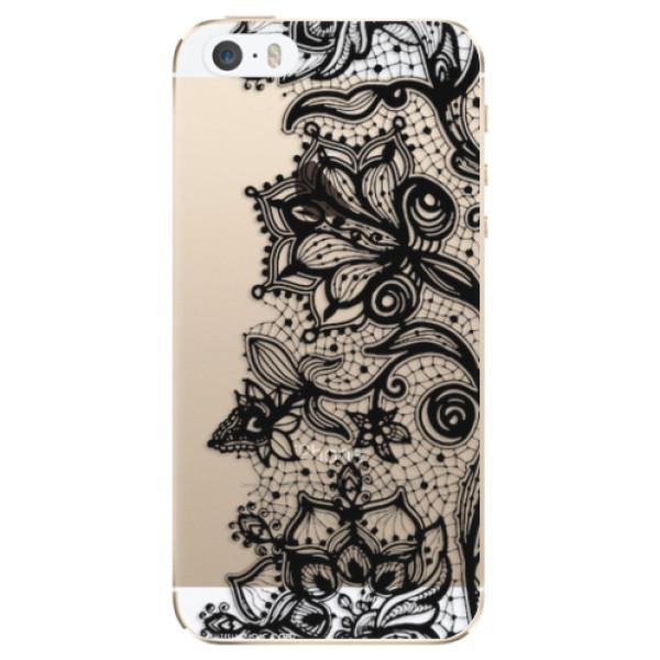 Odolné silikonové pouzdro iSaprio - Black Lace - iPhone 5/5S/SE