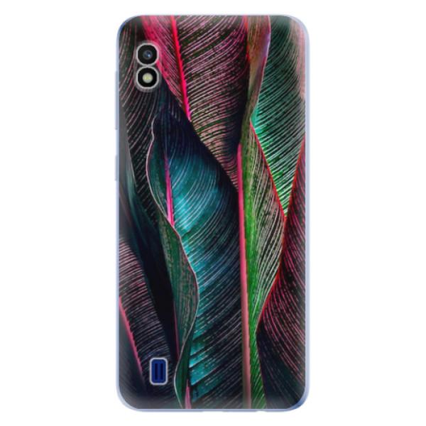 Odolné silikonové pouzdro iSaprio - Black Leaves - Samsung Galaxy A10