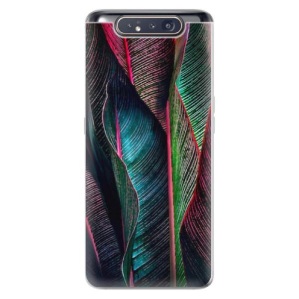 Odolné silikonové pouzdro iSaprio - Black Leaves - Samsung Galaxy A80