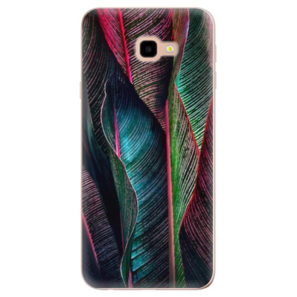 Odolné silikonové pouzdro iSaprio - Black Leaves - Samsung Galaxy J4+