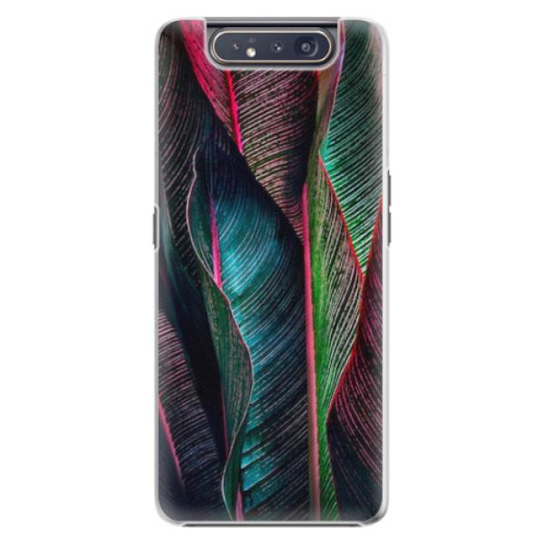 Plastové pouzdro iSaprio - Black Leaves - Samsung Galaxy A80