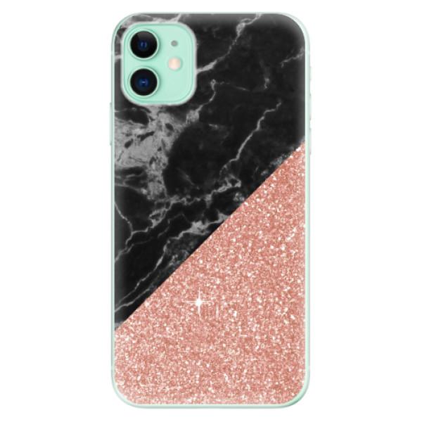 Odolné silikonové pouzdro iSaprio - Rose and Black Marble - iPhone 11